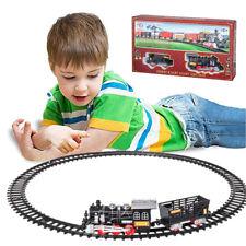 Pista Treno Trenino per Bambini 204 cm con Binari Locomotiva Vagone Luci e Suoni