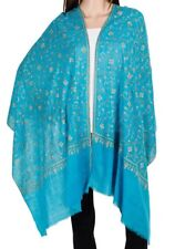 Pure Cashmere Turquoise Pashmina Beautiful Embroidery overall Luxury Royal Soft