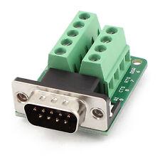 DB9 D-SUB 9 Pin macho RS232 a Modulo de senal terminal de conector Verde T5
