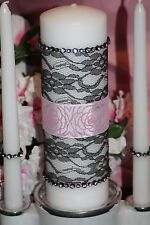 Light Pink Black Damask Diamond Rhinestone Wedding White Unity Candle Set