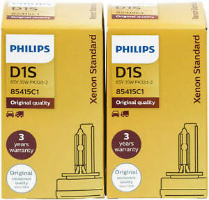 2X Xenon D1s Lamp Philips Headlight Burner Xenstart 85415C1 Standard 85415
