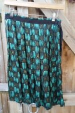 Lovely Topshop Silk Feel Emerald & Moss Green Pleated Flare Skirt - Size 8