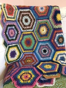 "Boho 70s Vintage Crochet Blanket Throw Colourful Handmade Picnic VW Van 38 X 85"""