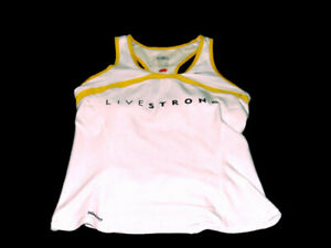 Nike Tank White Yellow Fit Dry Livestrong Stretch Pockets Racerback Womens M