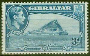 Gibraltar 1938 3d Lt Blue SG125 P.13.5 Fine Lightly Mtd Mint