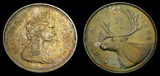 Canada 1966 Silver 25 Cents Choice Golden Toning UNC
