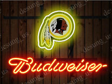 "New Budweiser Washington Redskins Beer Neon Sign 19""x15"" Ship From USA"