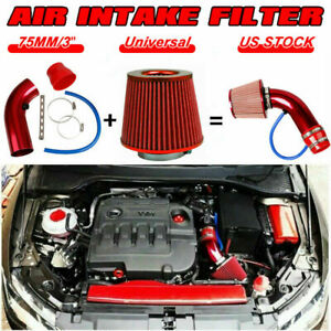 3'' Chrome Universal Car Cold Air Intake Filter Induction Pipe Hose System  Red