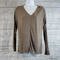Vince Womens Top Sz Small Brown Long Sleeve V-Neck Viscose