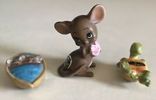 Lot of 3 Vintage Josef Originals Japan- Figurines - Mouse, Baby Mice & Turtle