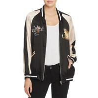 Bardot Womens Black Satin Embroidered Bomber Jacket Outerwear S 6 BHFO 5738