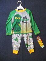 Lego Movie 2 Toddler Boys 2 Piece Ninja Green Gray Pajama Set Size 2T NEW NWT