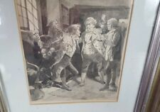 Antique 18th c Men Tavern Fight Watercolor Painting American Revolutionary War