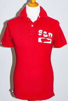Superdry Slim Fit Short Sleeve Pique Cotton Polo Shirt Distressed Logo Red Large