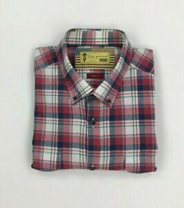 Men's Red Check Barbour International Shirt Large L Steve McQueen Slim Fit A