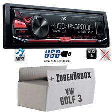 JVC KFZ Radio für VW Golf 3 III Autoradio MP3 USB Android Auto PKW Set 4x50Watt