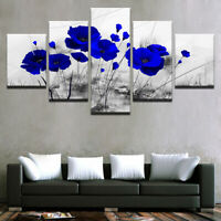 Home Decor Blue Poppy Flowers Poppies Canvas Print Painting Wall Art Poster 5PCS