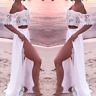 Sexy Women Off Shoulder Beach Dress Two Piece Crop Top And Skirt Set Party Long