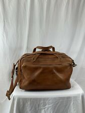 Vintage genuine tan leather duffle travel bag carry on 80s custom made distress