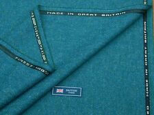 100% WOOL TWEED FABRIC, MIX BLUE/EMERALD HERRINGBONE - MADE IN GREAT BRITAIN