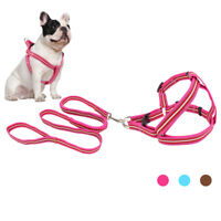 Reflective Nylon Step In Dog Vest Harness and Bungee Lead for Small Large Dogs