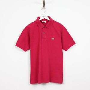 AF74 Vtg Lacoste Polo Mens Dark Pink Salmon Short Sleeve Cotton Shirt Size 5 L