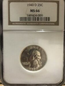 1940-D Washington Silver Quarter MS66 PCGS