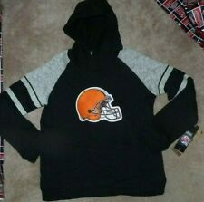 NEW NFL Cleveland Browns Football Hoodie Hooded Sweatshirt L Large 14 16 NEW NWT