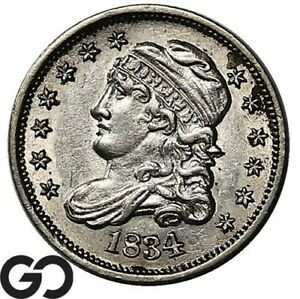 1834 Capped Bust Half Dime, Tough This Nice, Brilliant Unirculated++, Lustrous