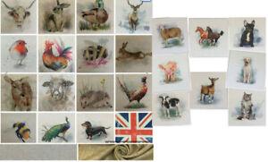 Chatham Glyn Animal, Cushion/Bag Panels.Linen Look Cotton Rich Fabric.24 Designs
