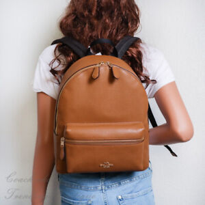 NWT Coach F30550 Medium Charlie Leather Backpack in Light Saddle