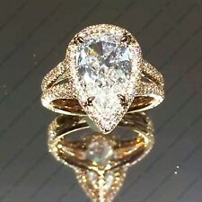 3.60 Tcw Pear Cut Forever Moissanite Double Shank Engagament Ring 14K Rose Gold