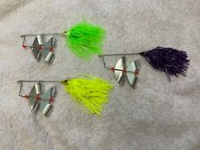 Vintage Unused Spinner bait Buzzbait Lot of 3 - Green Purple and Yellow