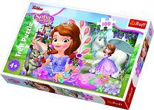 Trefl 100 Piece Kid Boys Disney Sofia The First Garden Unicorn Jigsaw Puzzle NEW