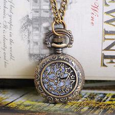 Vintage Bronze Tone Round Quartz Pocket Watch Necklace Chain Sunflower 84cm