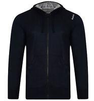 Men's New Reebok Logo Zip Hoodie Hoody Sweater Jumper Jacket Top Navy Blue Green