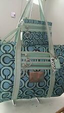 Coach Poppy 3D Op Art Glam Blue/ Turquoise Tote Purse Handbag 14983 w wristlet