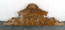 "16.15""  Antique French Hand Carved Wood Solid Rosewood Pediment - Two Swans"