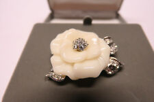 "NOLAN MILLER Glamour Collection ""Lara Ivory"" Camellia Flower Brooch Pin"