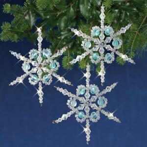 Nostalgic Christmas Premium Beaded Ornament Kit Shimmer Snowflakes Makes 3