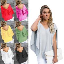 Korean Elegant Women's Chiffon 3/4 Sleeve Blouse V-Neck Lady T-Shirts Tops XL