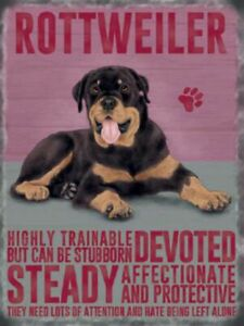 ROTTWEILER DOG METAL SIGN GIFT BREED CHARACTER PERSONALITY TRAITS  Wall Plaque