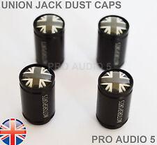 Black Body Union Jack Dust Caps Grey - Universal Car Van Tyre Valve Cap UK Post