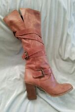Massimo Baldi sz 39 / 8.5 Brown Strappy Distressed Leather Slouch Boots Italy