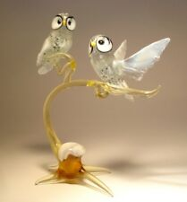 Blown Glass Art Figurine Bird White Polar OWL Birds on a Branch
