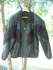 Winlit Size S Small Black Leather Womens Coat Jacket Pull Cord Waist Suade
