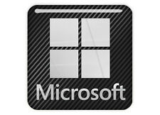 "Microsoft 1""x1"" Chrome Domed Case Badge / Sticker Logo"