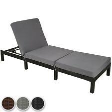 Chaise longue bain de soleil meuble de jardin en résine tressée transat coussin