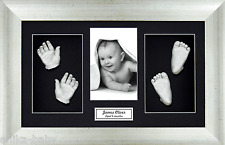 New Twins Baby Cast Kit Silver Hand/Foot Casts Unisex Gift Antique silver Frame