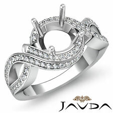 Diamond Engagement Ring 1Ct Platinum 950 Round Semi Mount Halo Pave Curve Shank